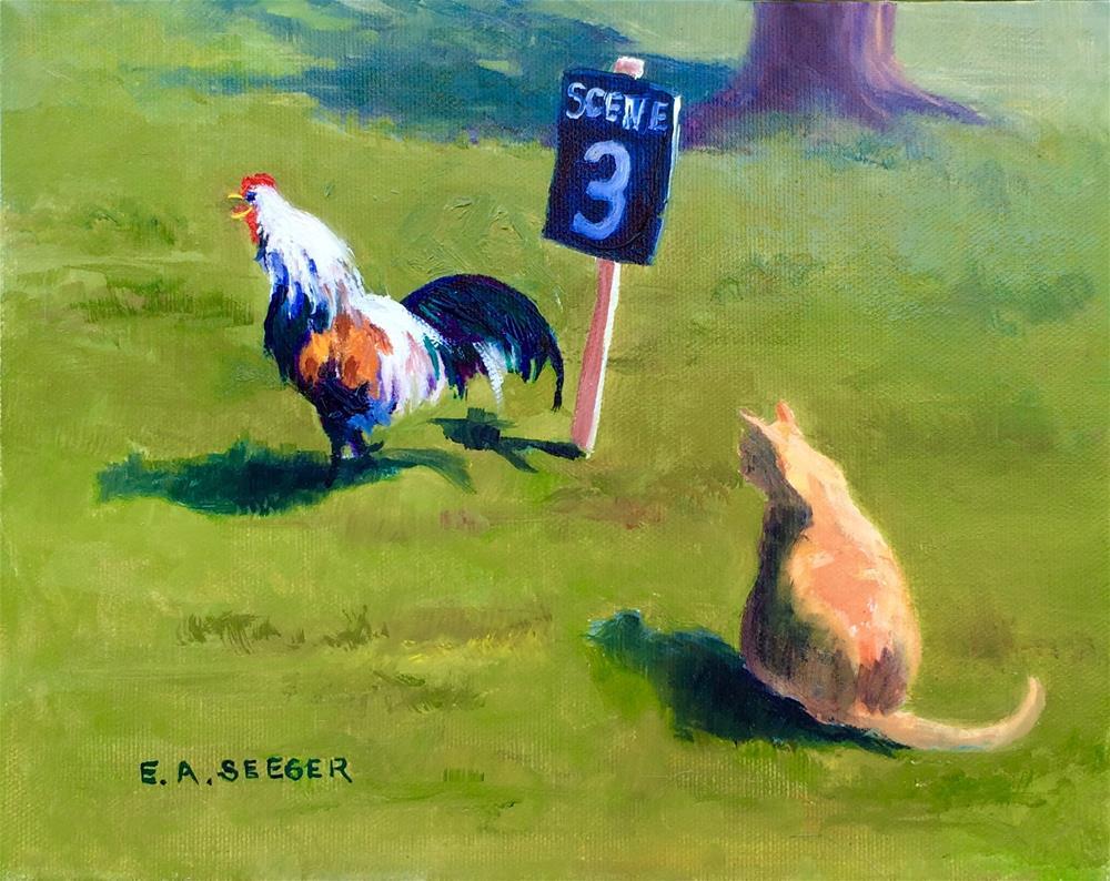 """Rooster Performance Take 2"" original fine art by Elisabeth Seeger"