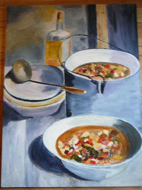 """Soup Party"" original fine art by Gabriella Spiegel"