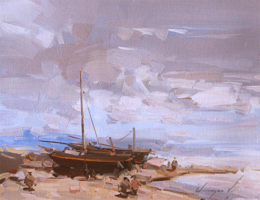 """""""BOATS ON THE SHORE ORIGINAL OIL PAINTING ON CANVAS IMPRESSIONISM"""" original fine art by V Y"""