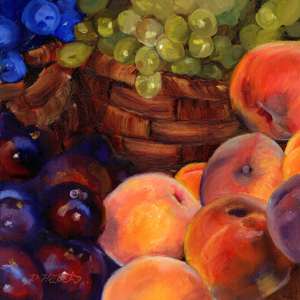 """Market Series #3, Peaches and Grapes"" original fine art by Diane Hutchinson"