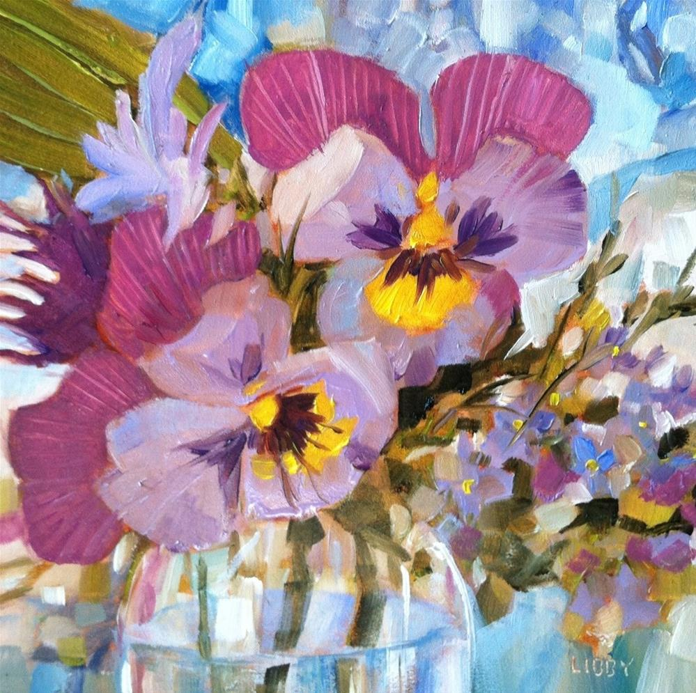 """""""Pansy Party"""" original fine art by Libby Anderson"""