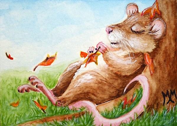 """Autumn Slumber"" original fine art by Monique Morin Matson"