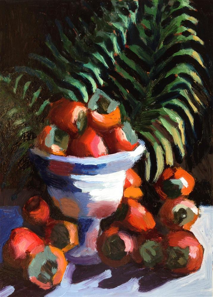 """Pile of Puppies...I Mean Persimmons"" original fine art by Pamela Hoffmeister"