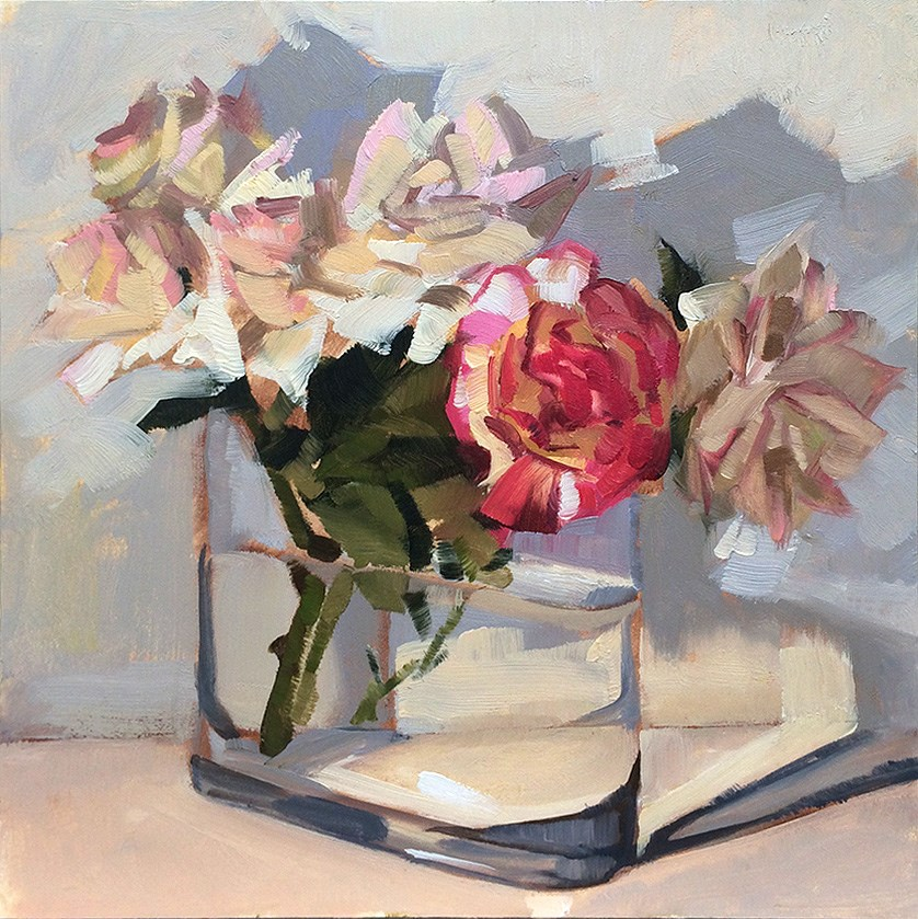 """Last roses of the year?"" original fine art by Miriam Hill"