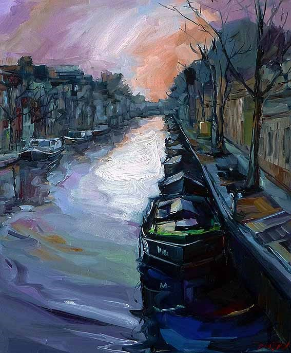 """Morgens in Amsterdam 2"" original fine art by Jurij Frey"