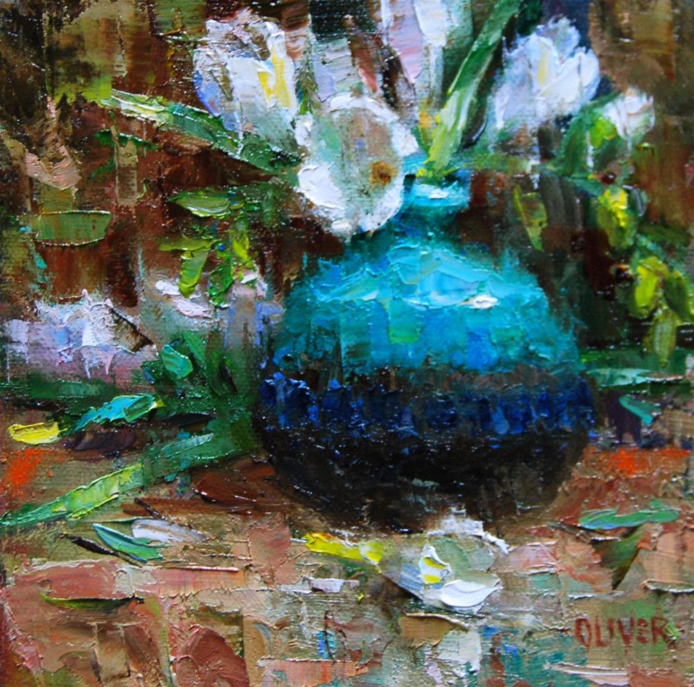"""""""Freesia and Turquoise"""" original fine art by Julie Ford Oliver"""