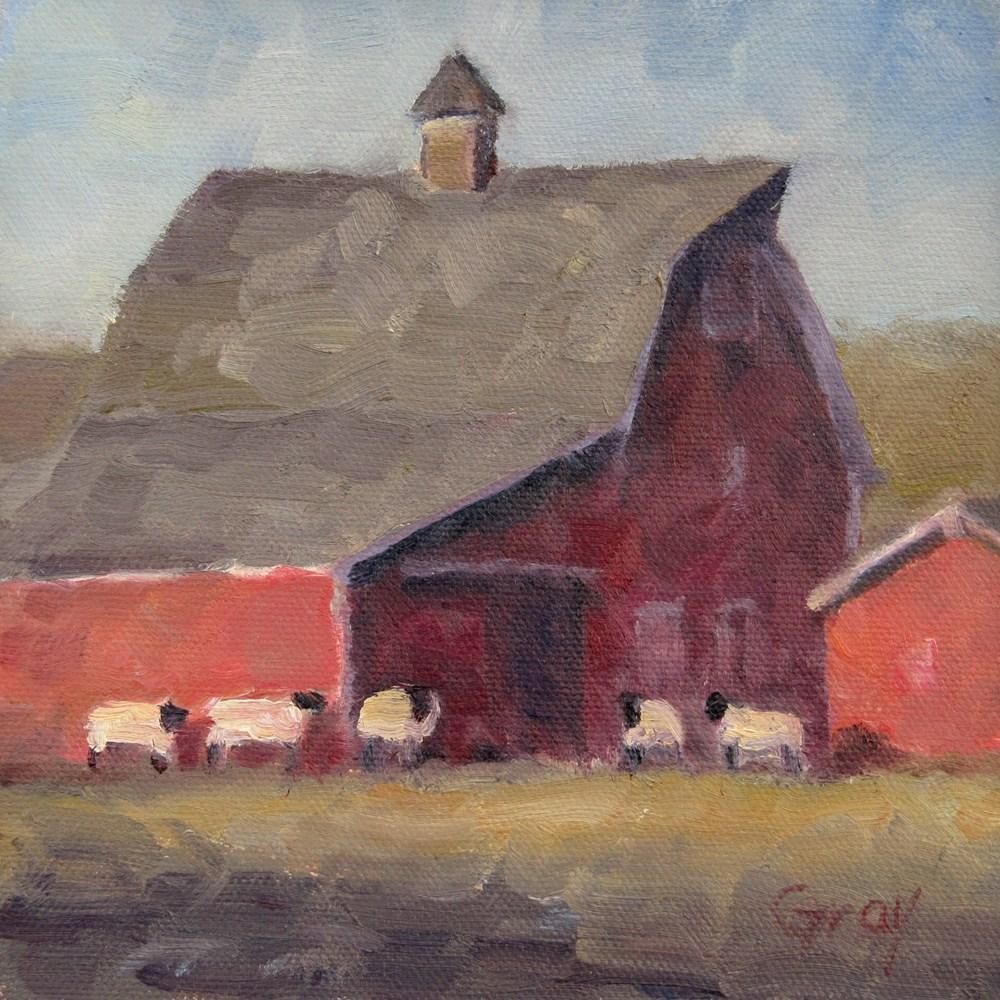 """Sheep & Red Barn"" original fine art by Naomi Gray"