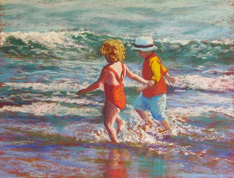 """Seaside Run"" original fine art by Ruth Mann"