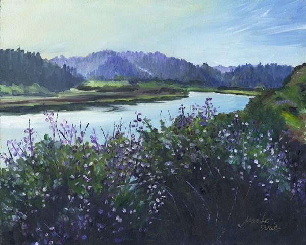 """Lupine by the River"" original fine art by Mariko Irie"