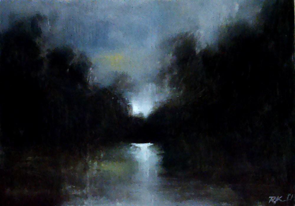 """River at Night"" original fine art by Bob Kimball"