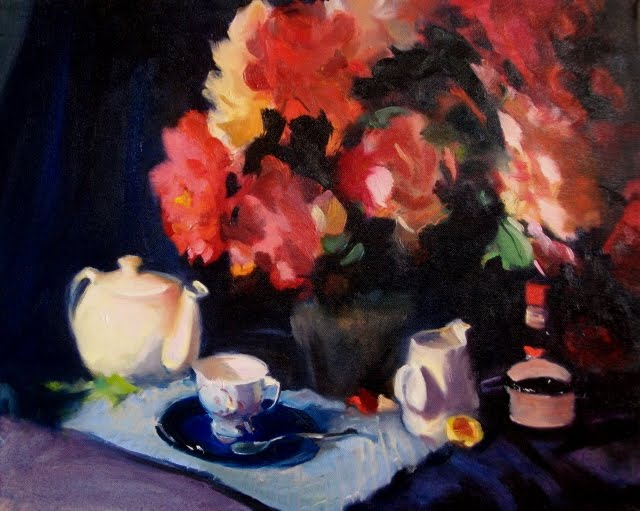 """Tea Time  Still life with roses and teapot"" original fine art by Robin Weiss"