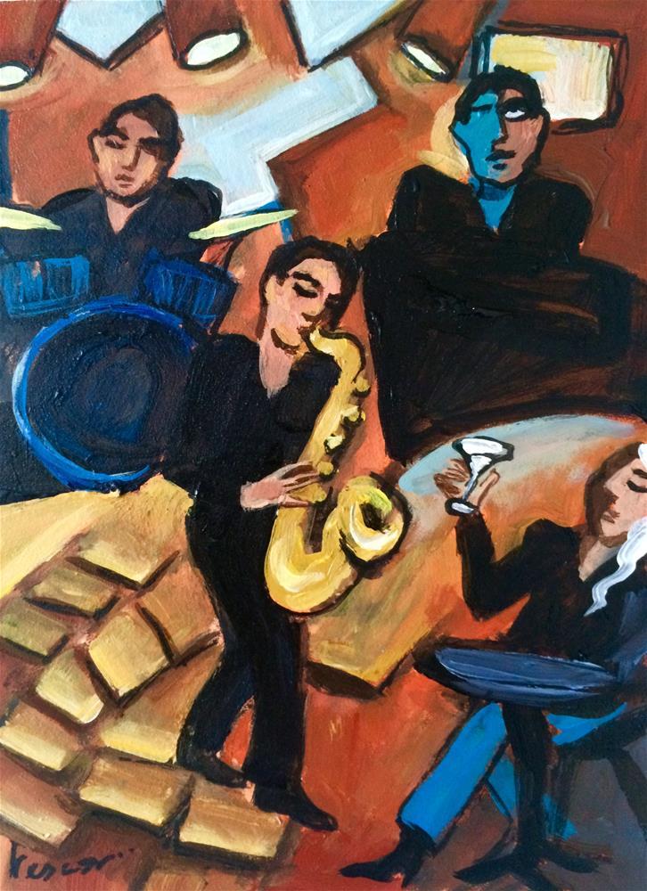 """Soirée Jazz"" original fine art by Valerie Vescovi"