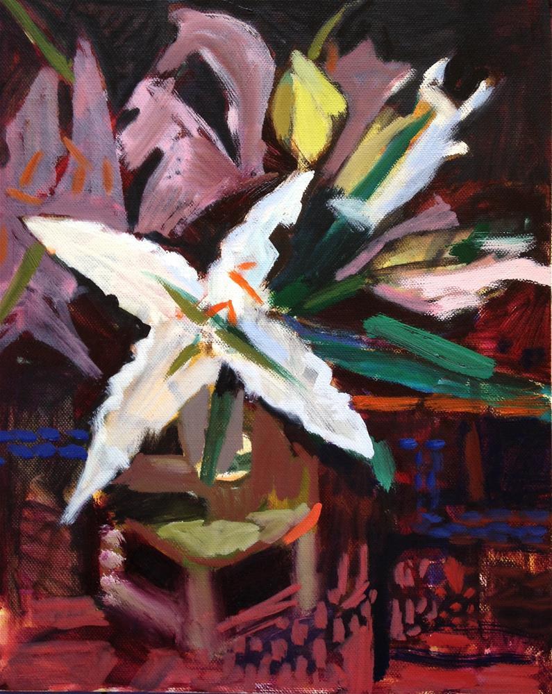 """Lily, Stool, Carpet"" original fine art by Pamela Hoffmeister"