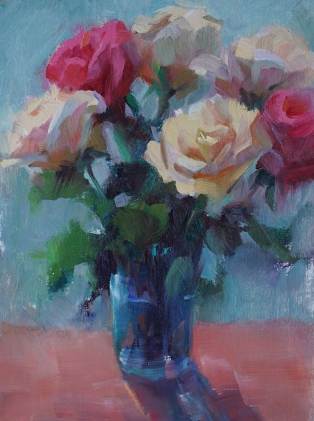 """Blue Glass Vase"" original fine art by Carol Myer"