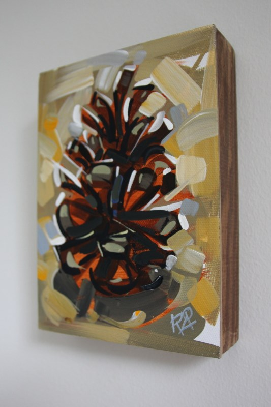 """""""Pine Cone Abstraction 9  (framed)"""" original fine art by Roger Akesson"""