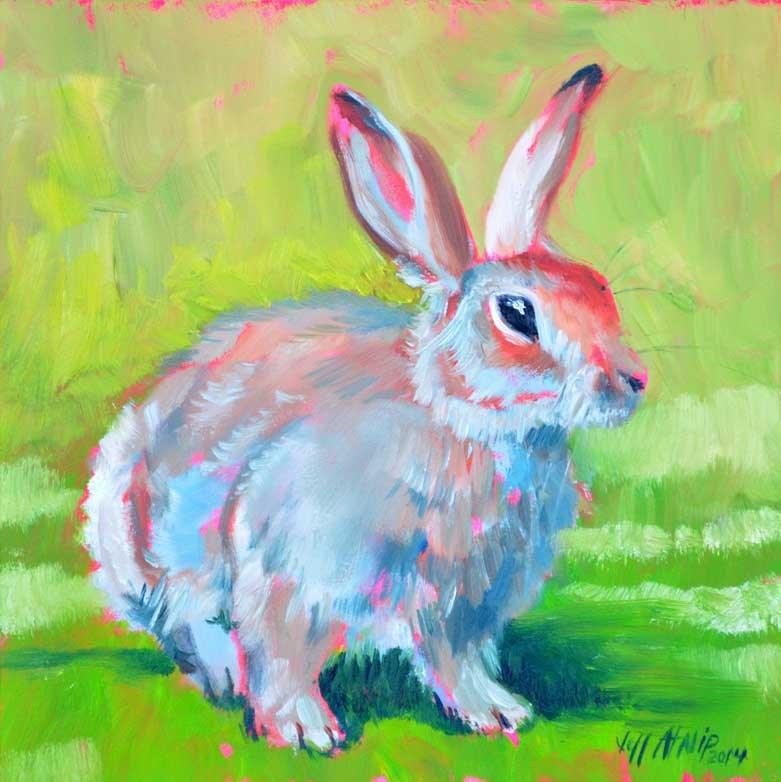 """Rabbit on the Green"" original fine art by Jeff Atnip"