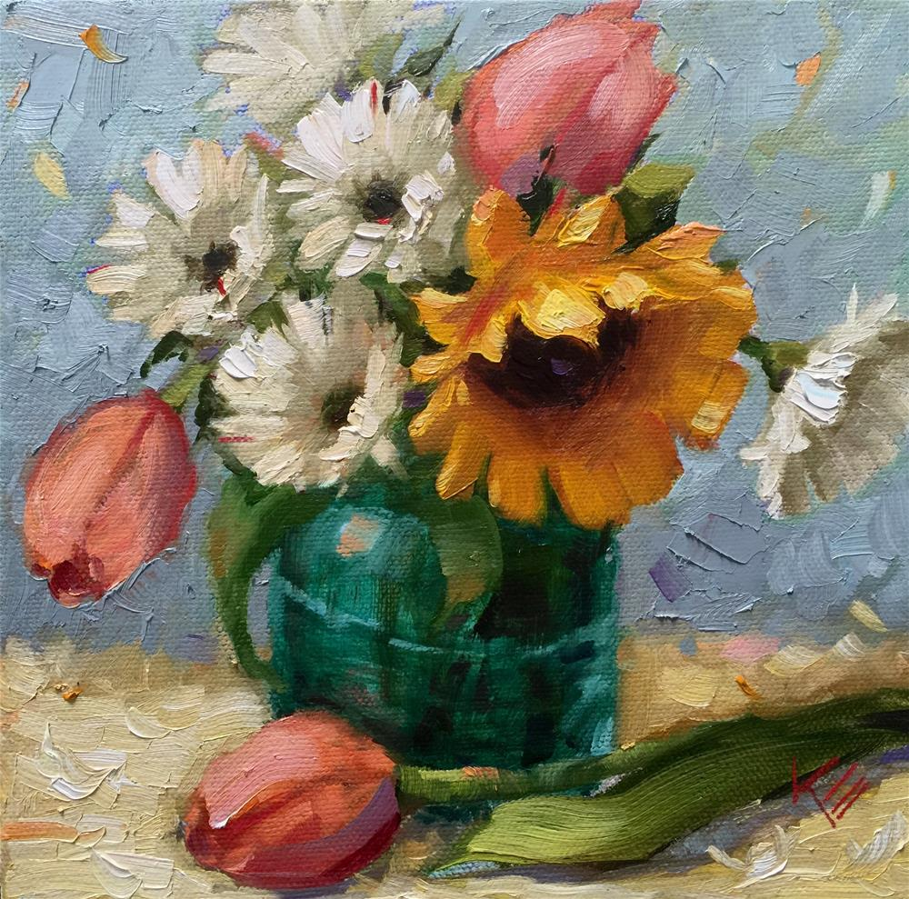 """Tulips & Sunflower in Blue Jar"" original fine art by Krista Eaton"