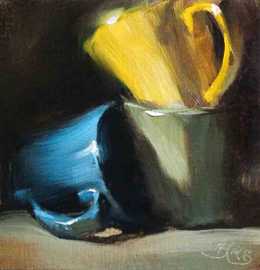 """Coffee Cups"" original fine art by Pamela Blaies"