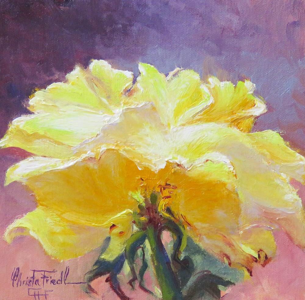"""Yellow Rose"" original fine art by Christa Friedl"