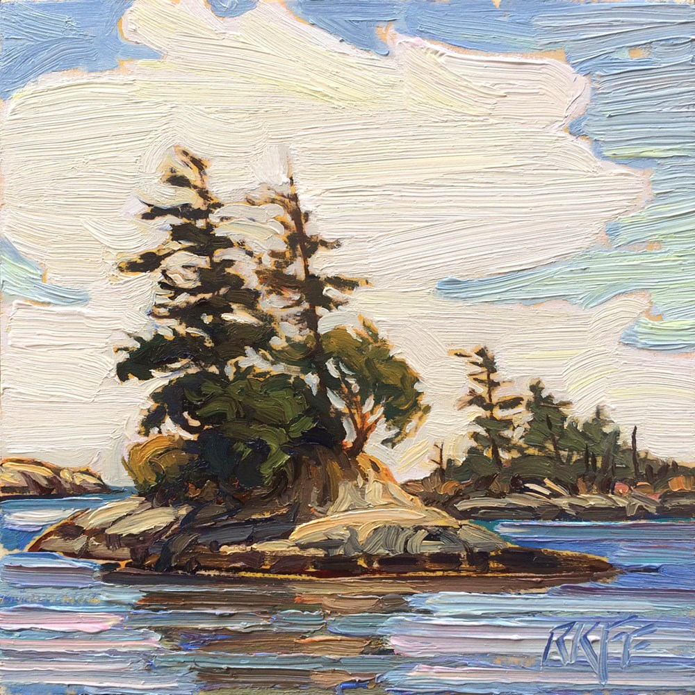 """Parry Bay Sun:  6x6  oil on panel"" original fine art by Ken Faulks"