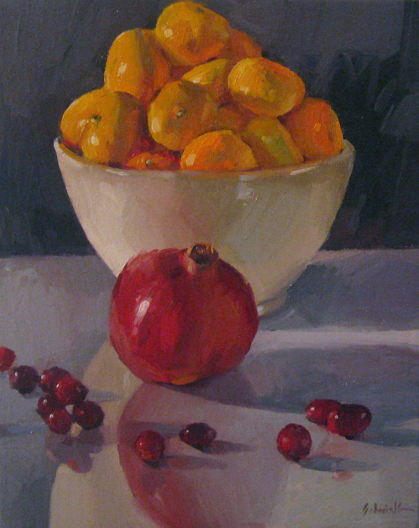"""Pomegranate Orange Cranberry"" original fine art by Sarah Sedwick"