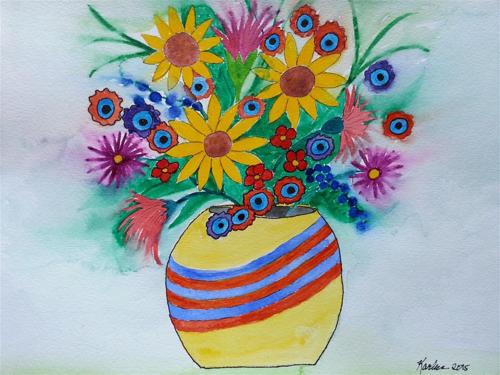 """""""Happy Bouquet"""" original fine art by Karleen Kareem"""