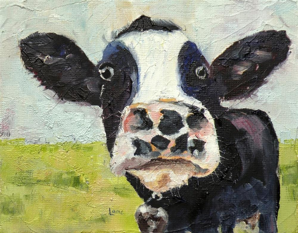 """SPOT THE COW ORIGINAL 4X5 OIL FOR MY ETSY SHOP © SAUNDRA LANE GALLOWAY"" original fine art by Saundra Lane Galloway"