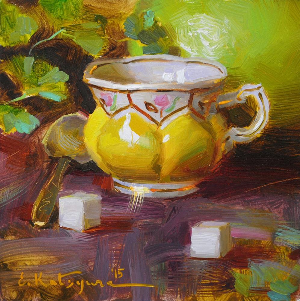 """Coffee Cup and Pomelo"" original fine art by Elena Katsyura"