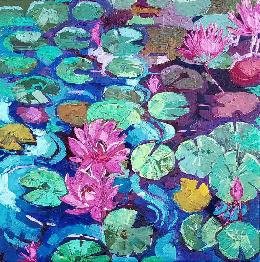 """Pink Lilies"" original fine art by Bhavna Misra"