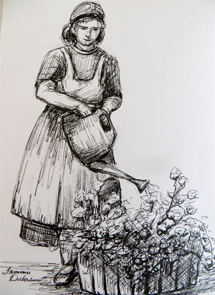 """Watering the Flowers - sketch"" original fine art by Tammie Dickerson"