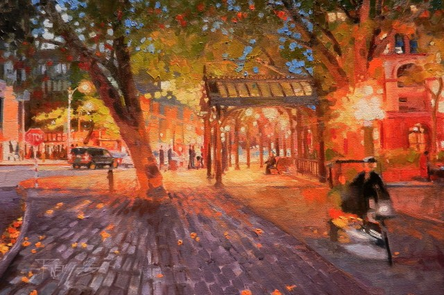 """""""Pioneer Square Evening Seattle city oil painting by Robin Weiss"""" original fine art by Robin Weiss"""