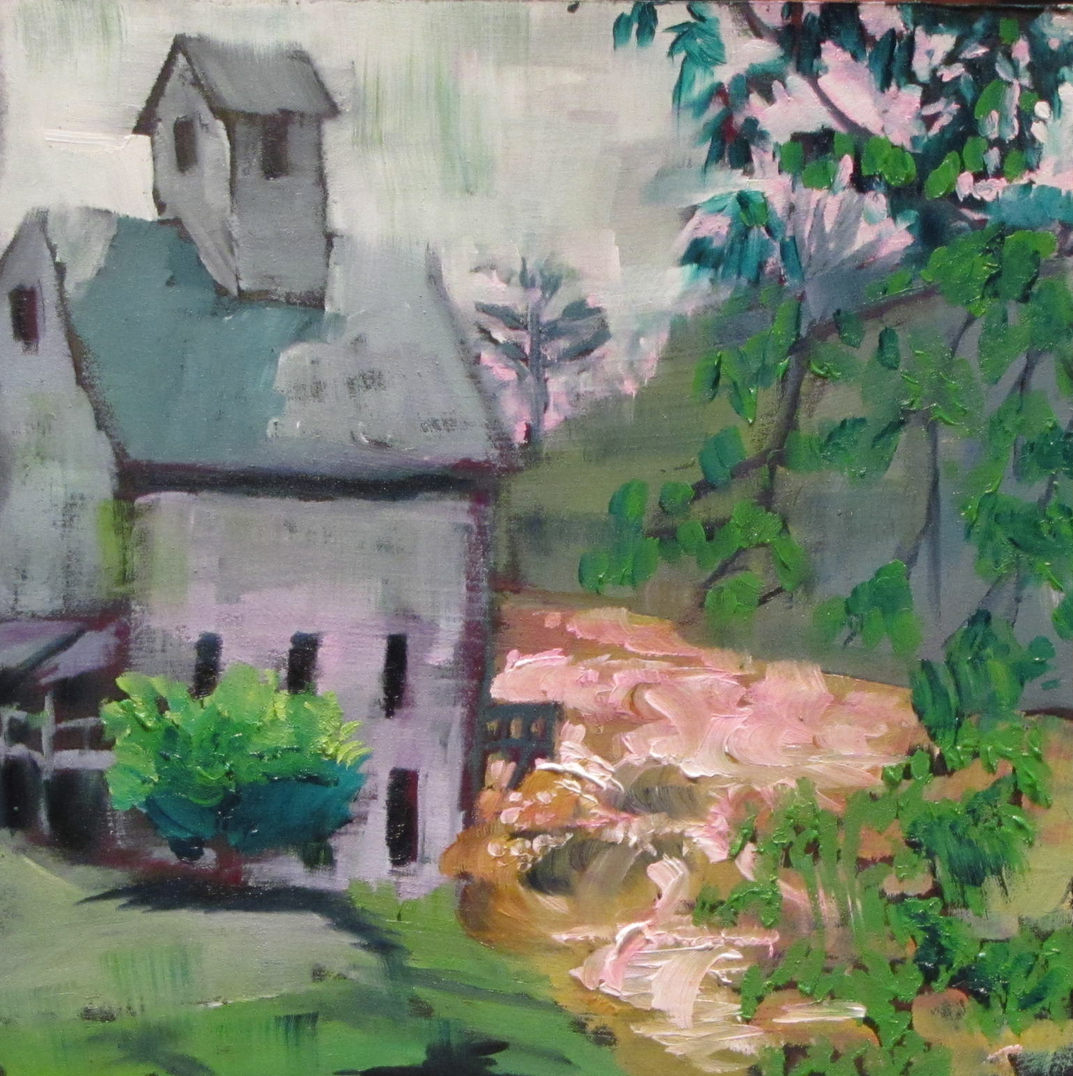 """Irene and the Old Mill  #335  oil 6x6"" original fine art by Christine Holzschuh"