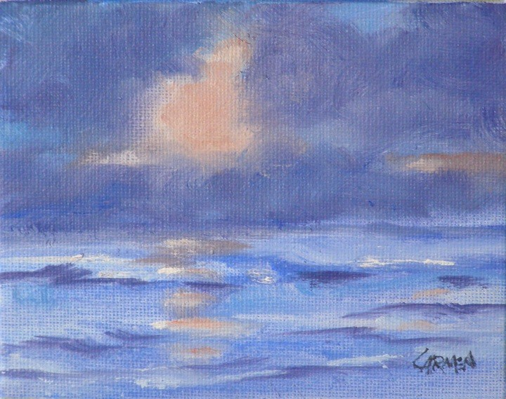 """Morning Sea, 4x5 Oil on Canvas"" original fine art by Carmen Beecher"