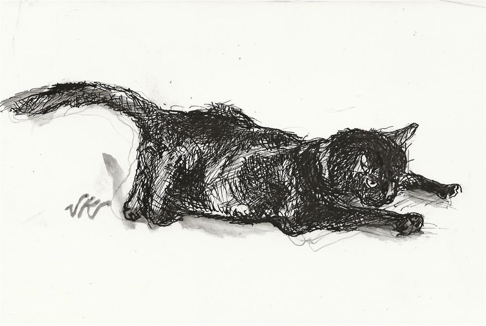 """Daily Cat 164"" original fine art by Jean Krueger"