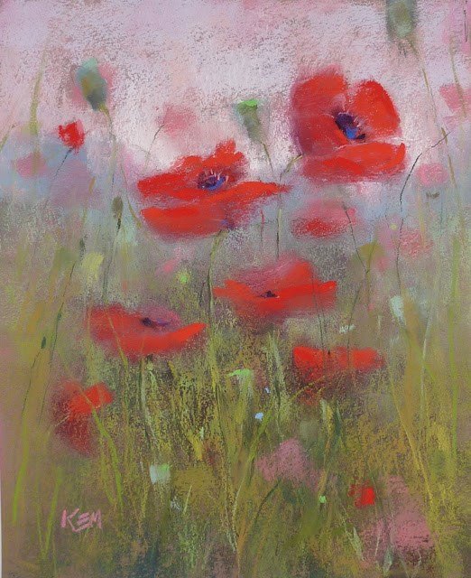 """""""Step by Step Demo: Pastel Poppies in Pictures"""" original fine art by Karen Margulis"""