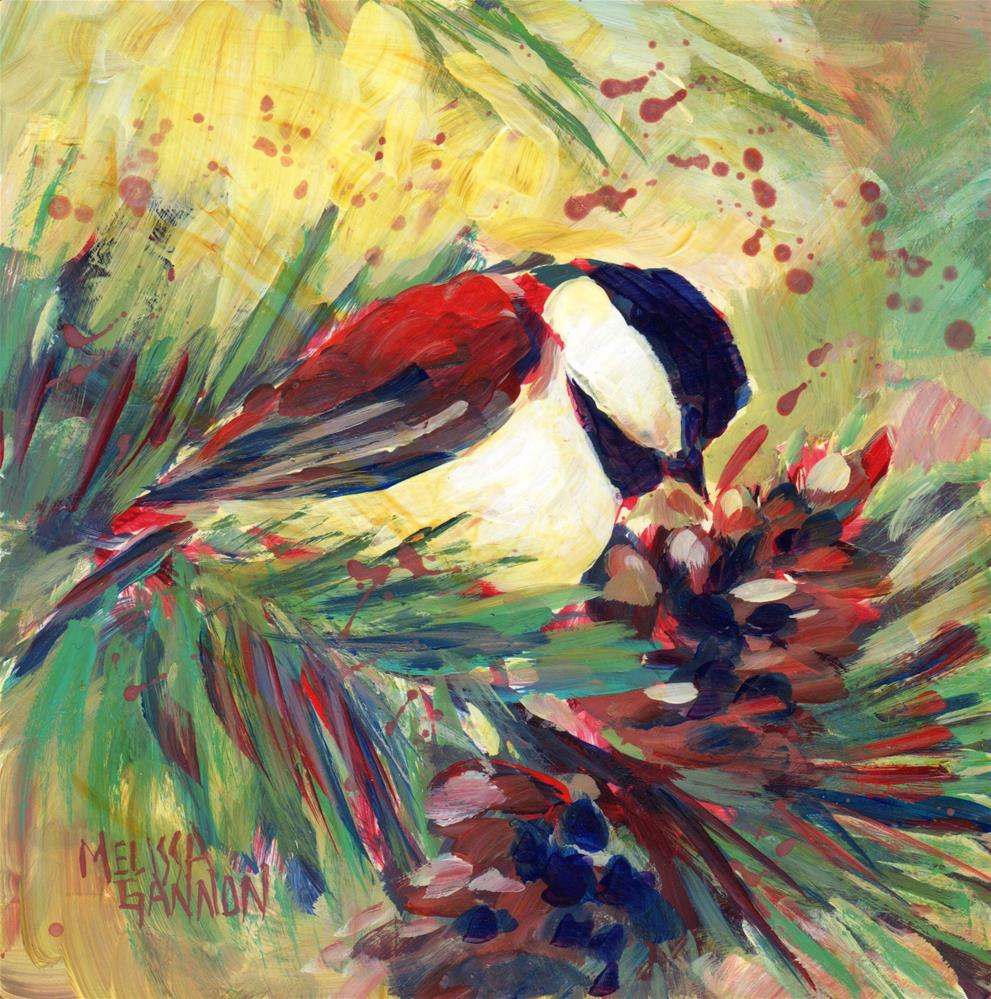 """Chickadee in the Pines"" original fine art by Melissa Gannon"