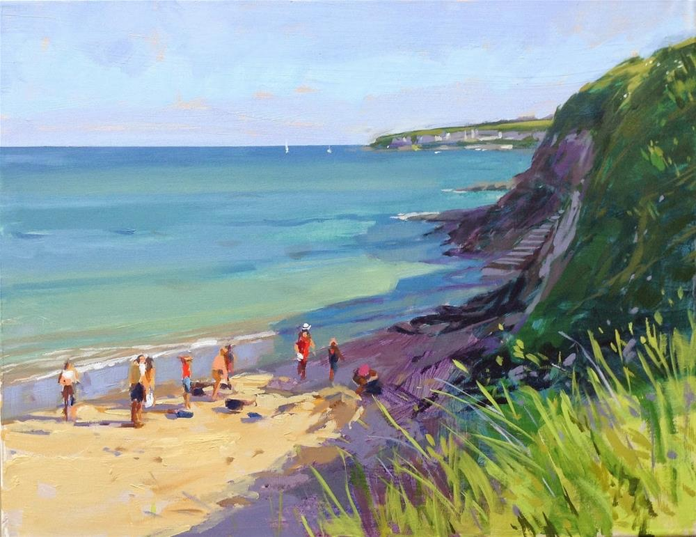"""Porthcurnick beach in summer"" original fine art by Haidee-Jo Summers ROI"