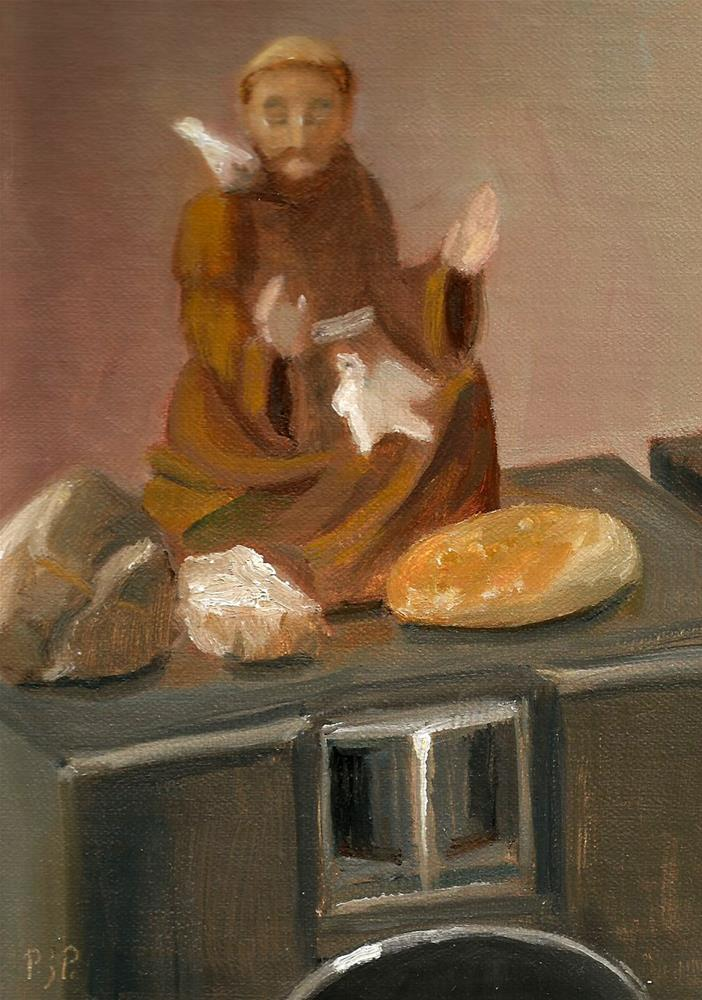 """St. Francis in My Studio"" original fine art by Patricia J. Powers"