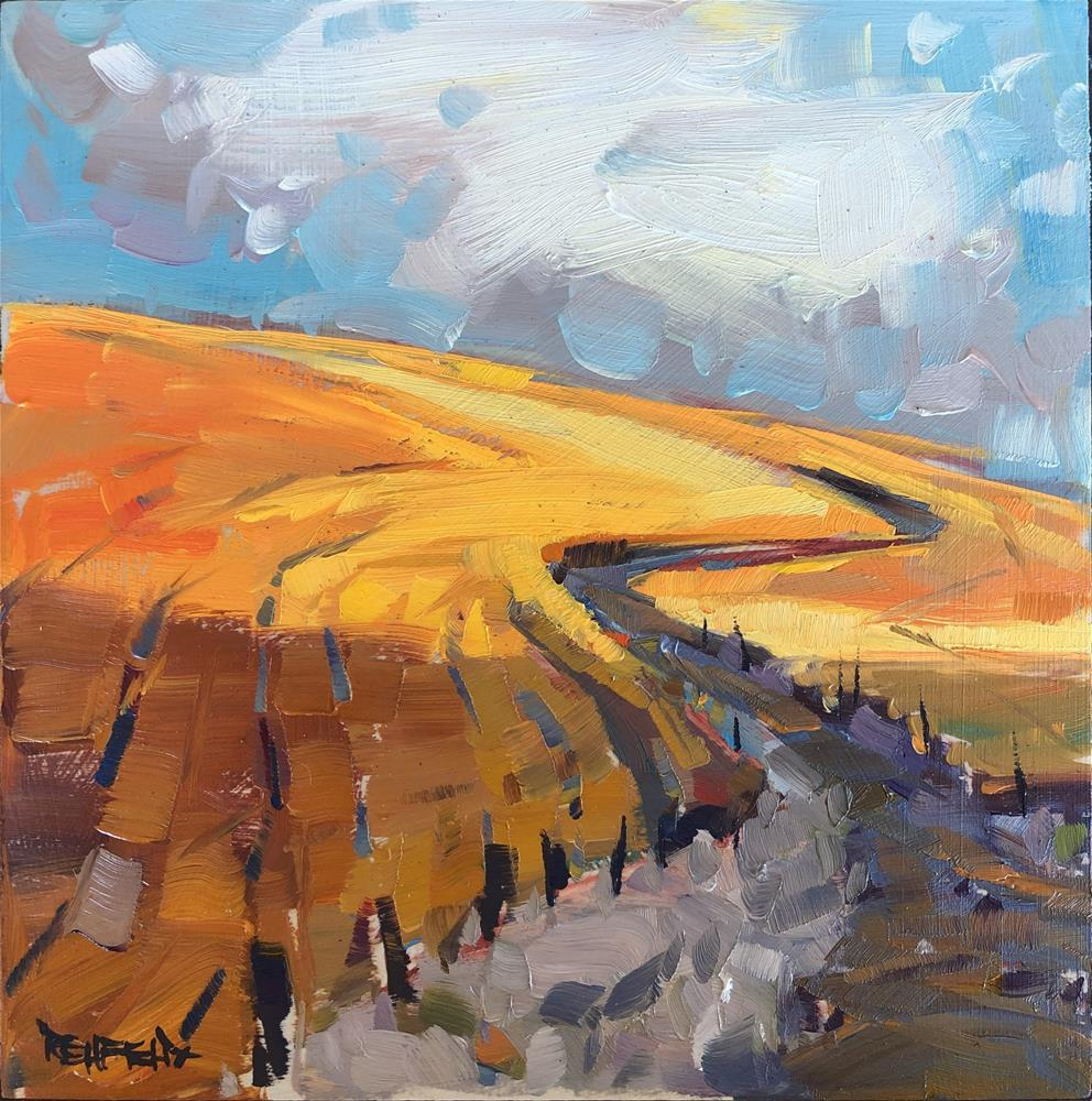 """Dirt Road Through Wheat Country"" original fine art by Cathleen Rehfeld"