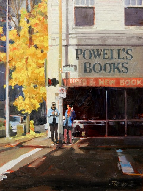 """""""Powell's Books Portland city oil painting by Robin Weiss"""" original fine art by Robin Weiss"""