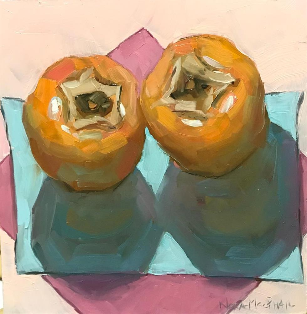"""persimmon kiss"" original fine art by Nora MacPhail"