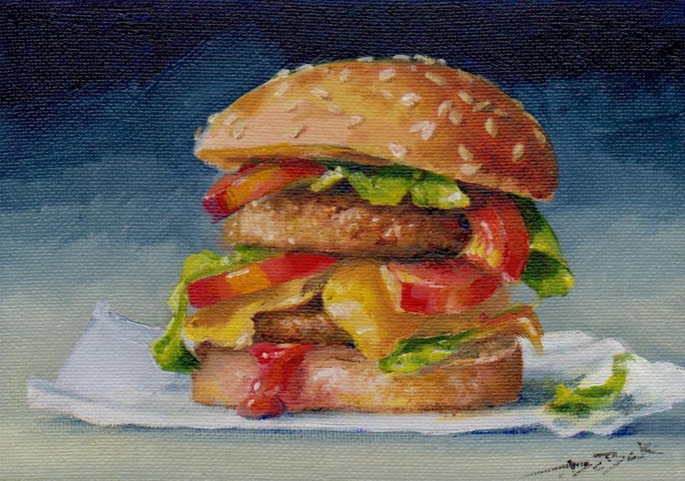 """cheeseburger"" original fine art by Mark DeBak"