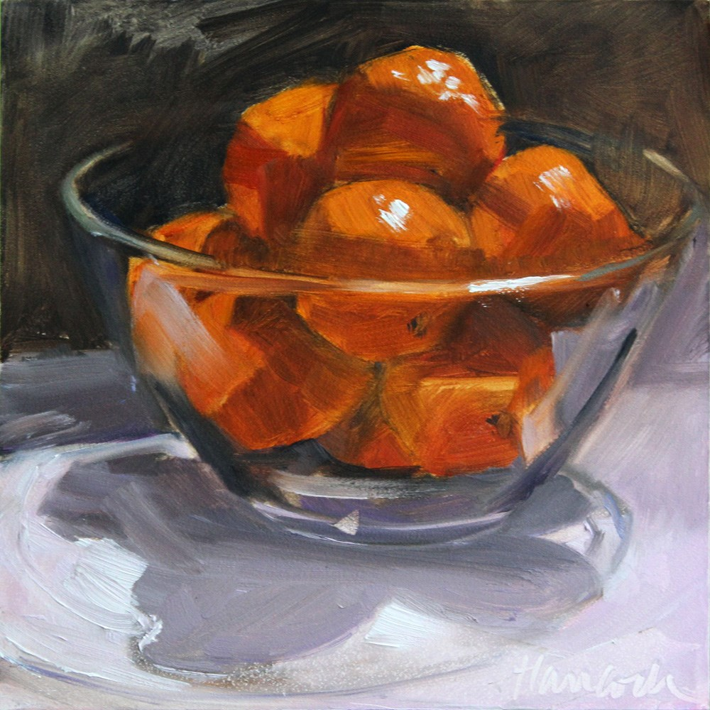 """Glass Bowl with Clementines"" original fine art by Gretchen Hancock"