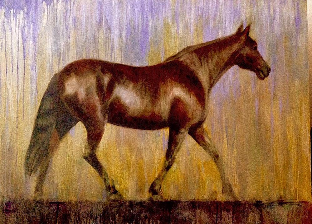 """Rain Horse"" original fine art by David Larson Evans"