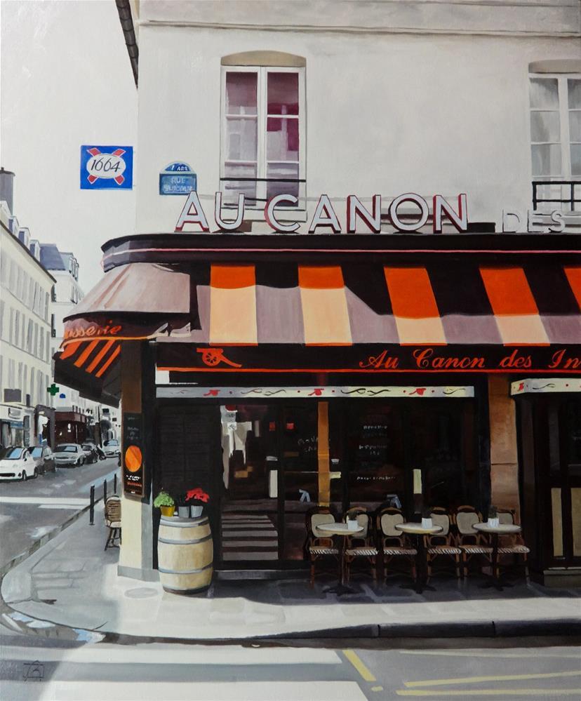 """""""Cafe Au Canon des Invalides"""" original fine art by Andre Beaulieu"""