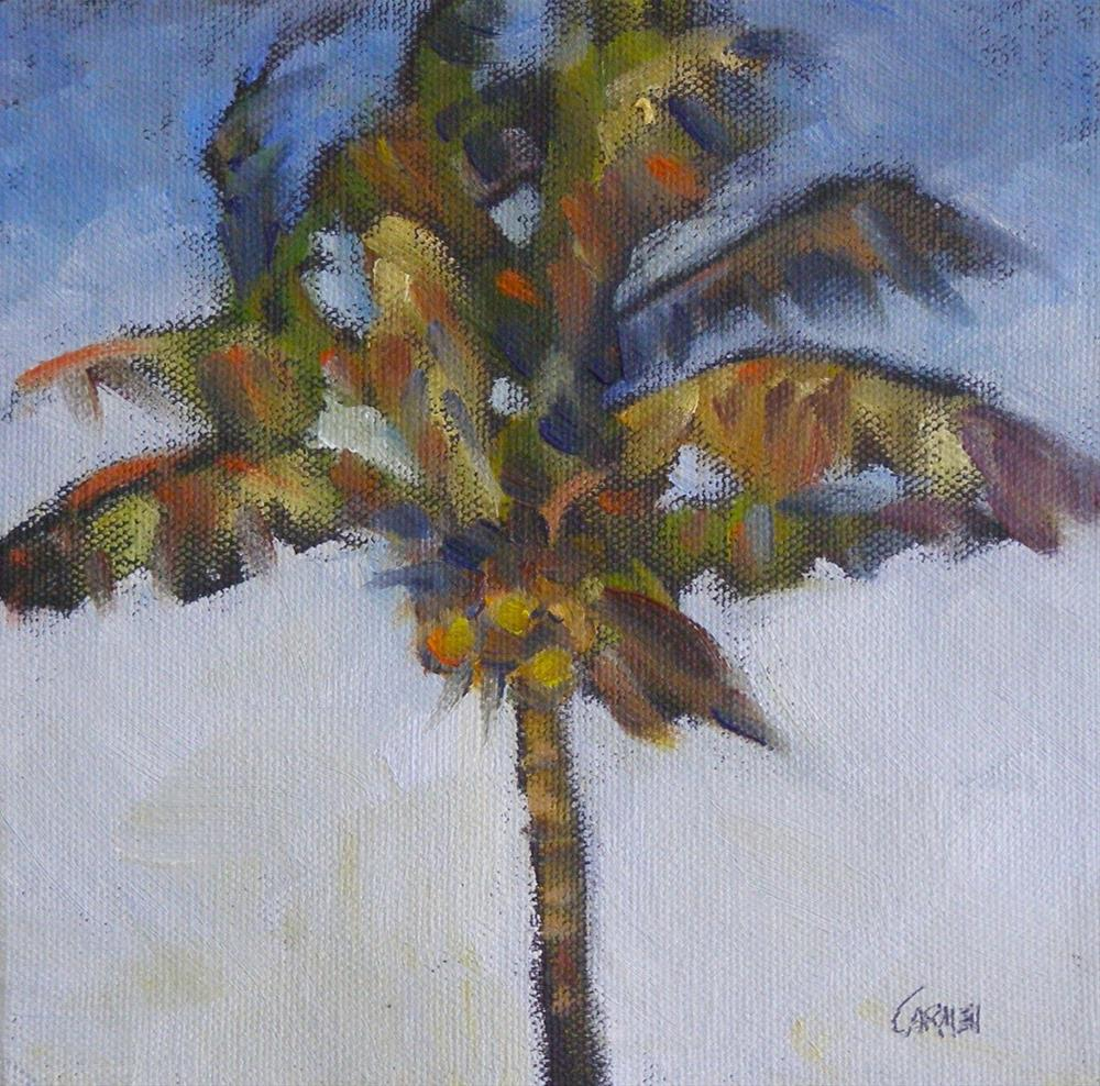 """Palm Before the Storm, 6x6 Oil on Canvas"" original fine art by Carmen Beecher"