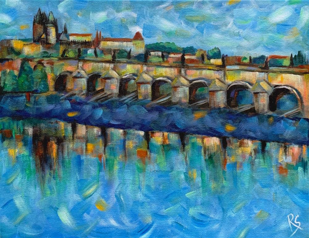"""Prague in Blue"" original fine art by Roberta Schmidt ArtcyLucy"