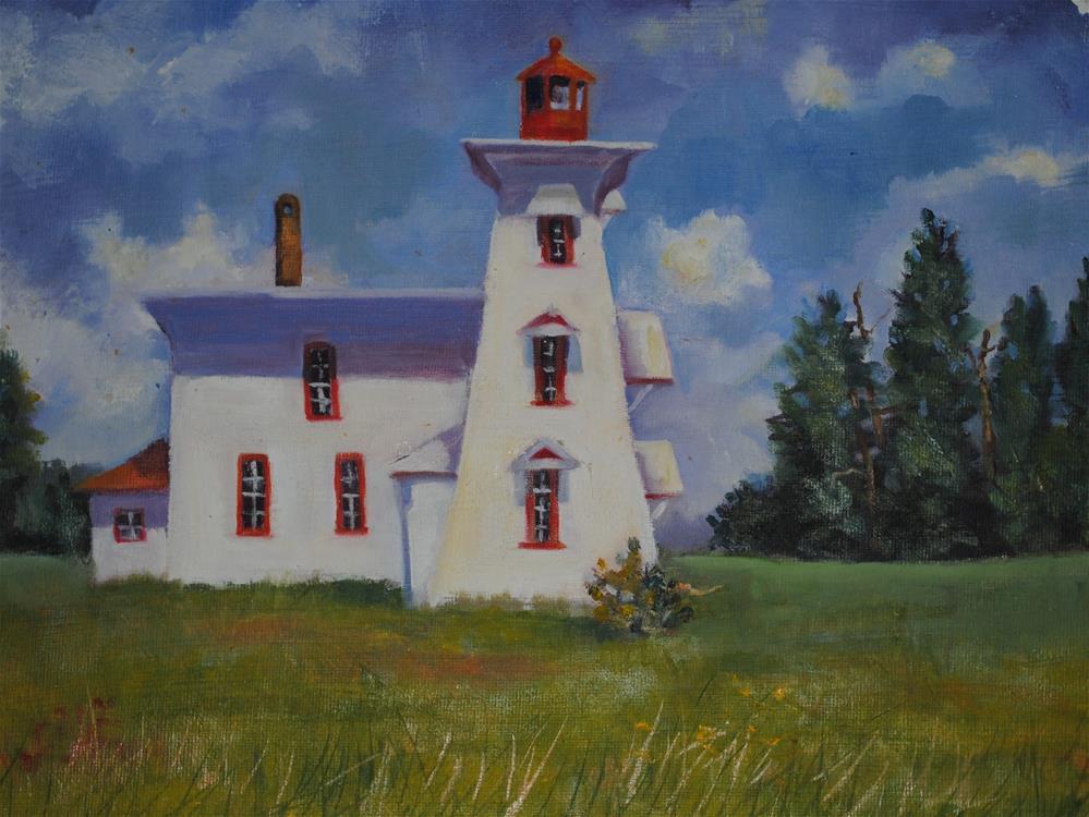 """""""PEI Lighthouse"""" original fine art by Nan Perry"""