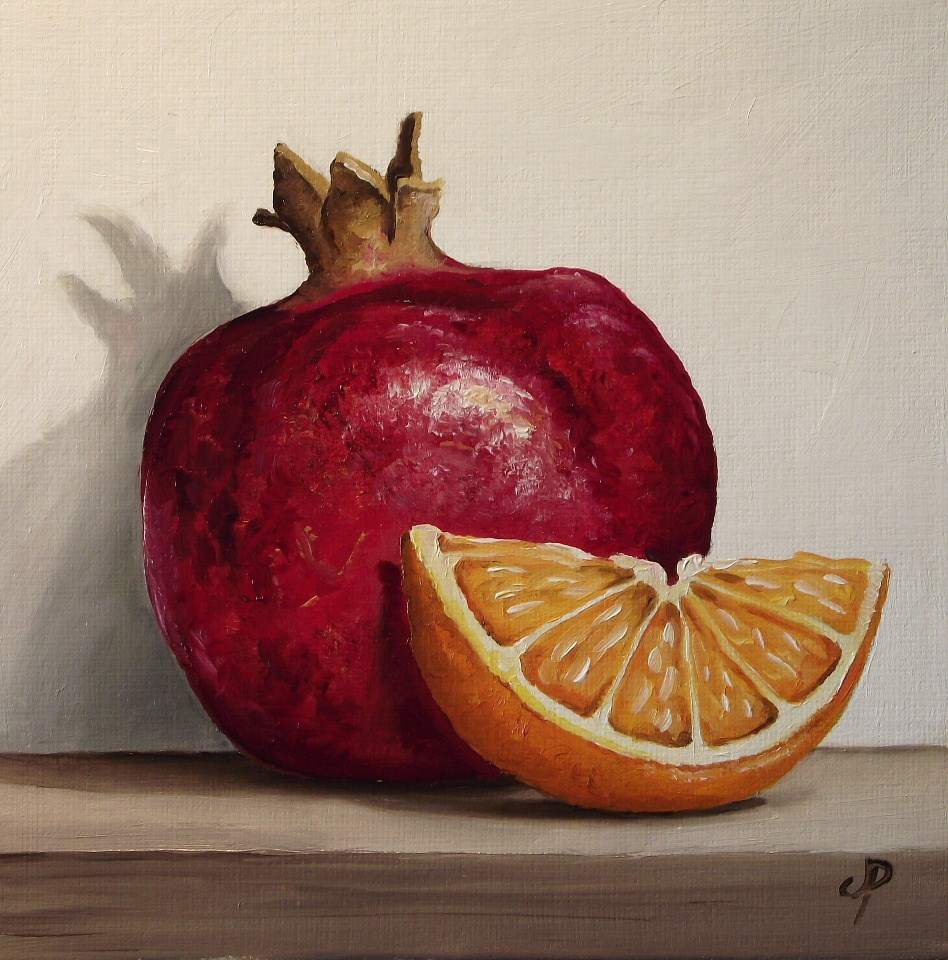 """Pomegranate and Orange"" original fine art by Jane Palmer"