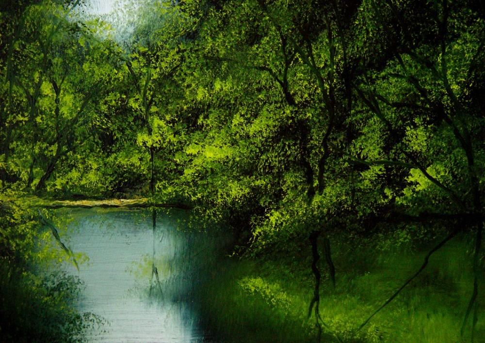 """Secret Fishing Hole"" original fine art by Bob Kimball"